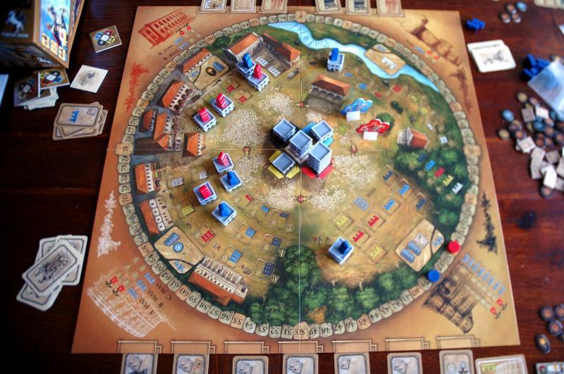 A Játékostábla, négy városrésszel/városnegyeddel